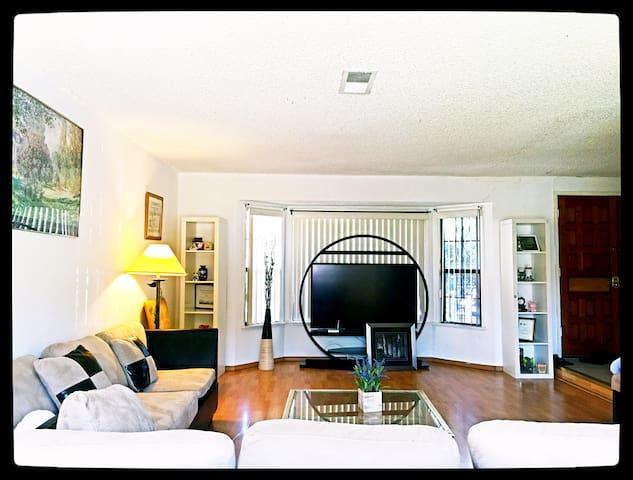 宽敞客厅,60寸液晶显示,国内国外电视频道均可收看,实木地板,干净整洁!