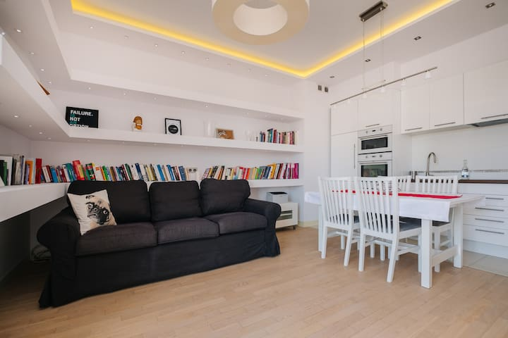 Modern apartment  across the ponds