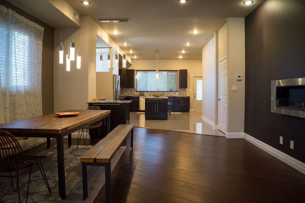 Dining Room, Kitchen, Fireplace