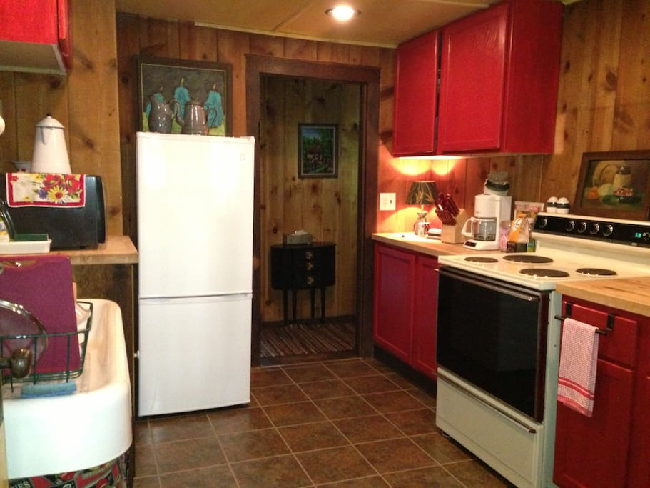 The kitchen has been updated but still holds that 'vintage' appeal.