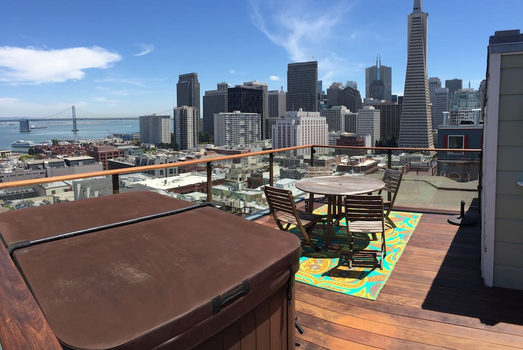 Roof top deck with hot tub.