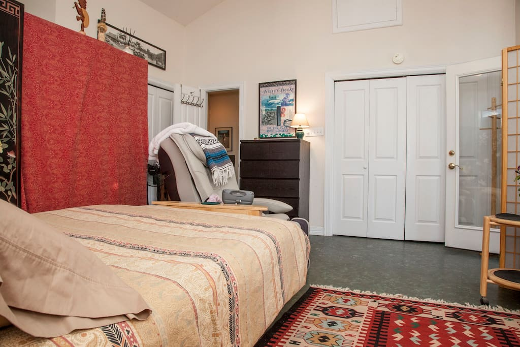 Washer and Dryer available behind the folding closet doors.