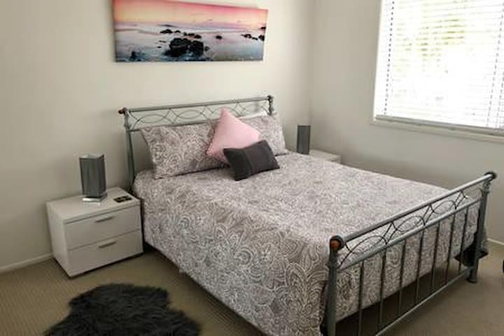 Comfortable bed & large bedroom
