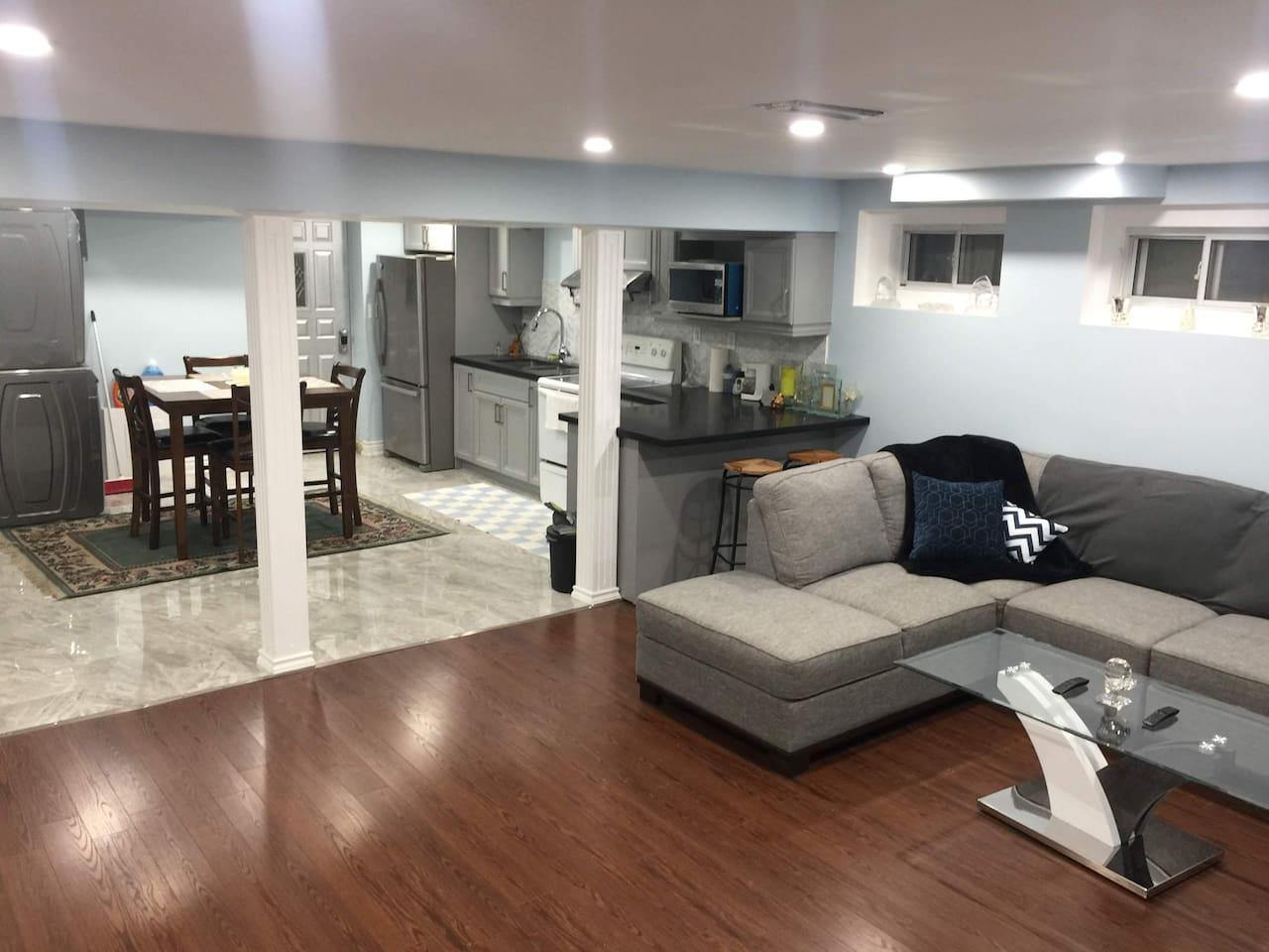 Spacious, tidy, private full floor basement suite.