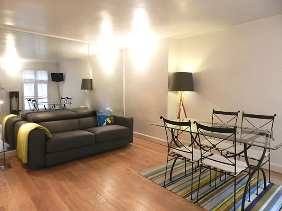 Living   The 17 square meters living room has a double glazed window facing courtyard . It is equipped with : dining table for 6 people, double sofa bed, TV, hard wood floor.