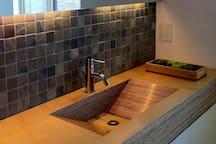 Unique wooden bathroom sink