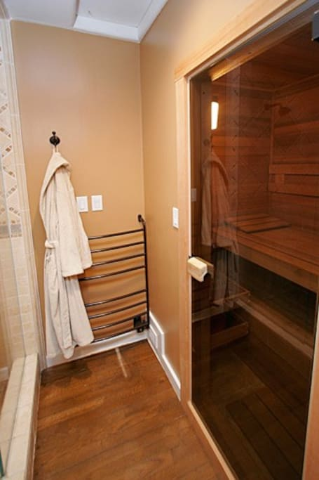 Sauna and Steam Shower Entrance with towel warmers - Master Bathroom
