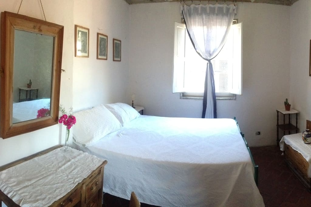 Room configured with one double bed