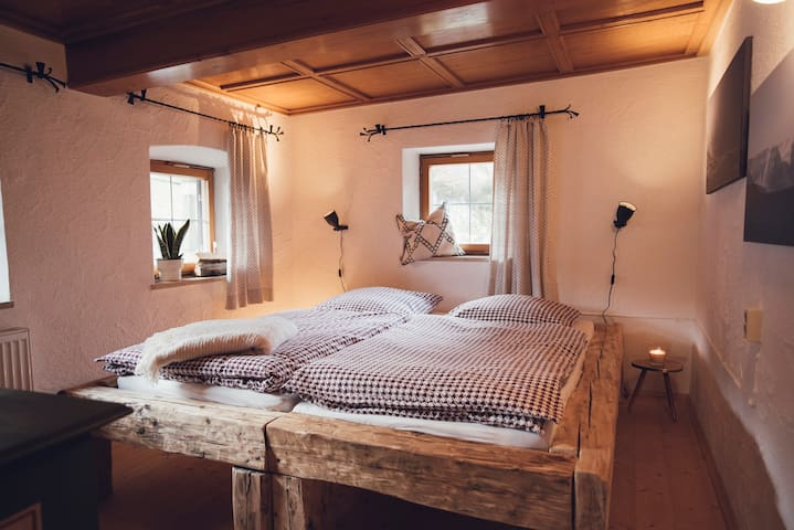 The 'Enzian Room' with a 180 X 200 bed (again 2 mattresses of 90 X 200)