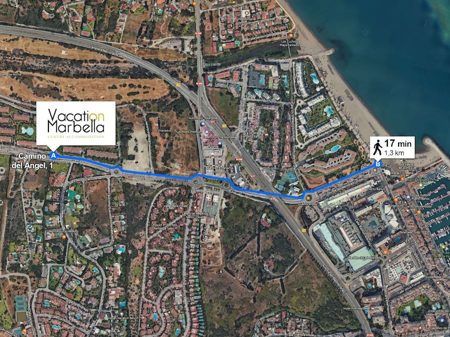 Distance from the apartment to the beach and Puerto Banus.