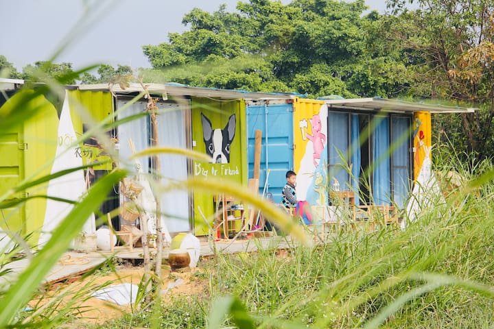 江门市新会区40亩的私家农场-适合家庭聚会BBQ的集装箱小屋,享受完全的阳光大自然和星星吧