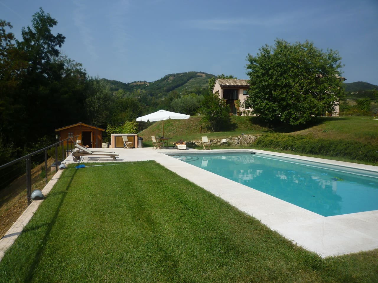 Swimming pool and house view from South