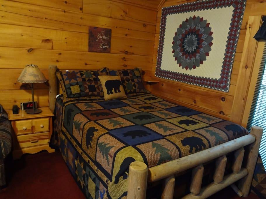 Log frame queen bed