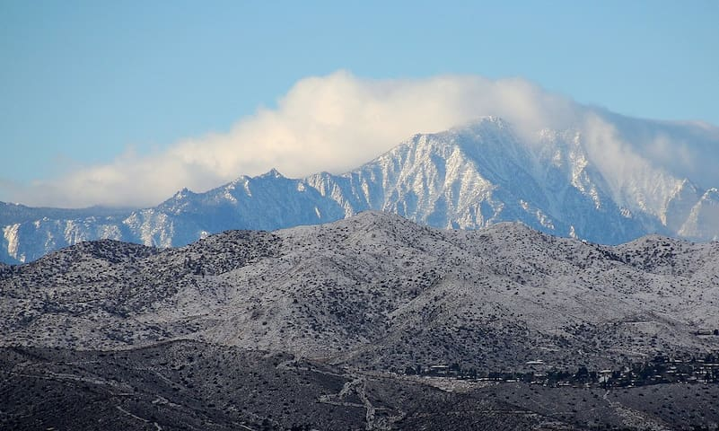 Mt San Jacinto as seen from the house - take a cable car ride to 8 500 feet. Peak is at 10 834 feet.