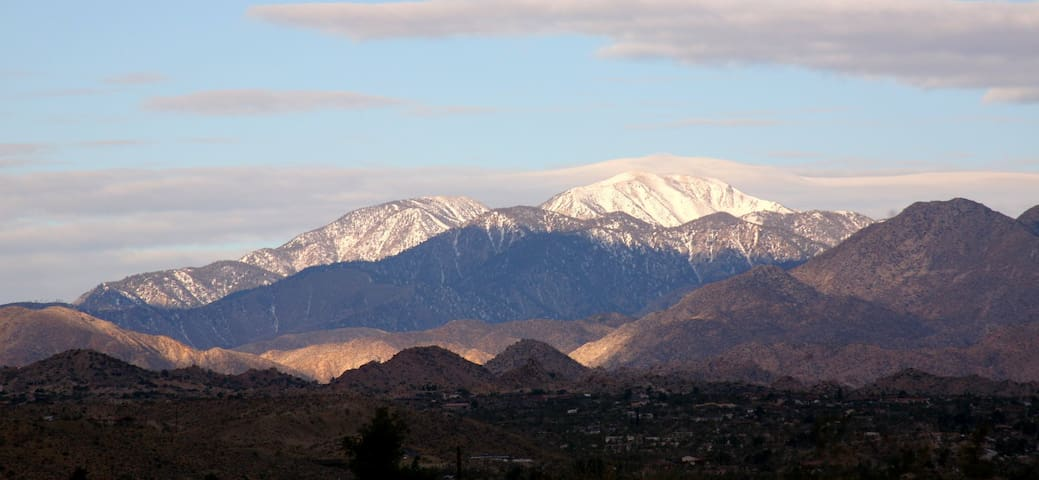 Mt Gorgonio as seen from the house. At 11 499 it is the highest in Southern CA. Rises above Big Bear an hour drive.