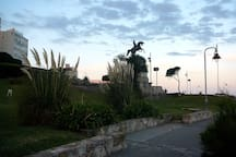 After Playa Chica comes Parque San Martín. Playa Grande (beach) is in front of it.