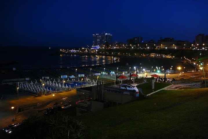 Evening view of Varese beach, 17 blocks from the apartment.