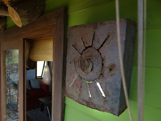 Outdoor lighting, also made by a local artesan