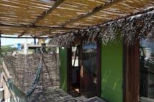 The deck on Maracatú - sliding doors from the living room