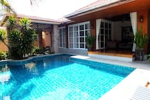 Private Pool with Outside Seating Area Sofa & Chairs