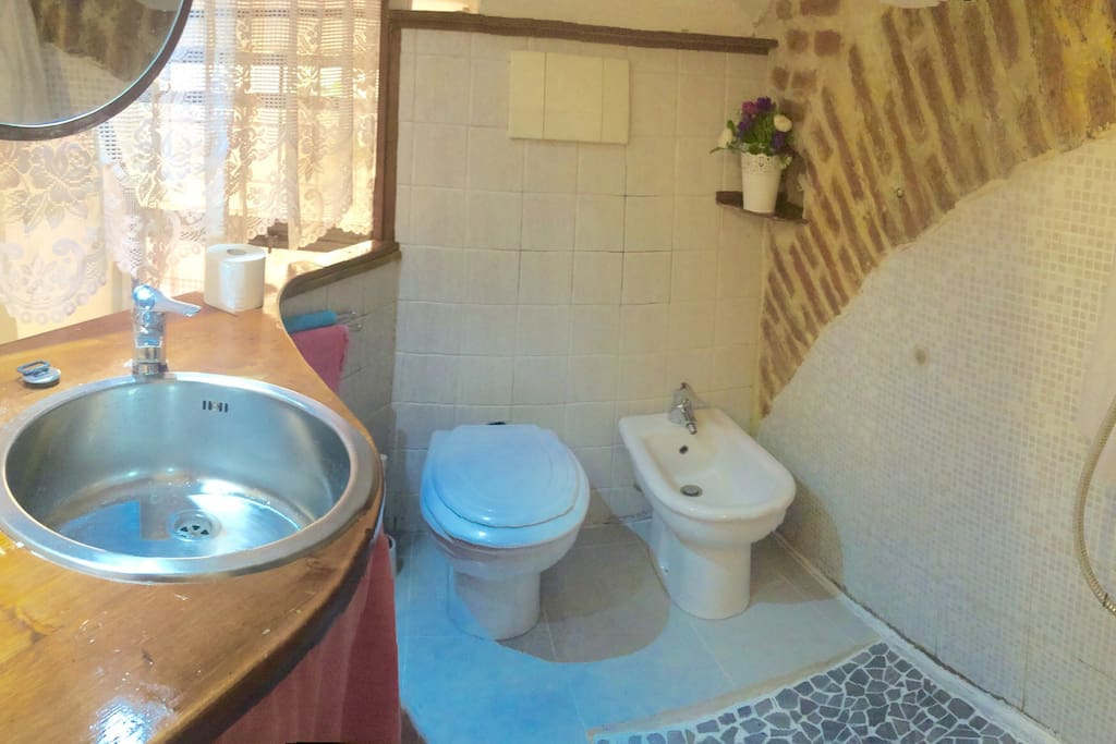Toilet and shower on the left.