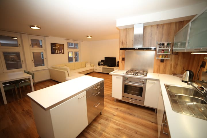 Fully equipped kitchen/dining/living room