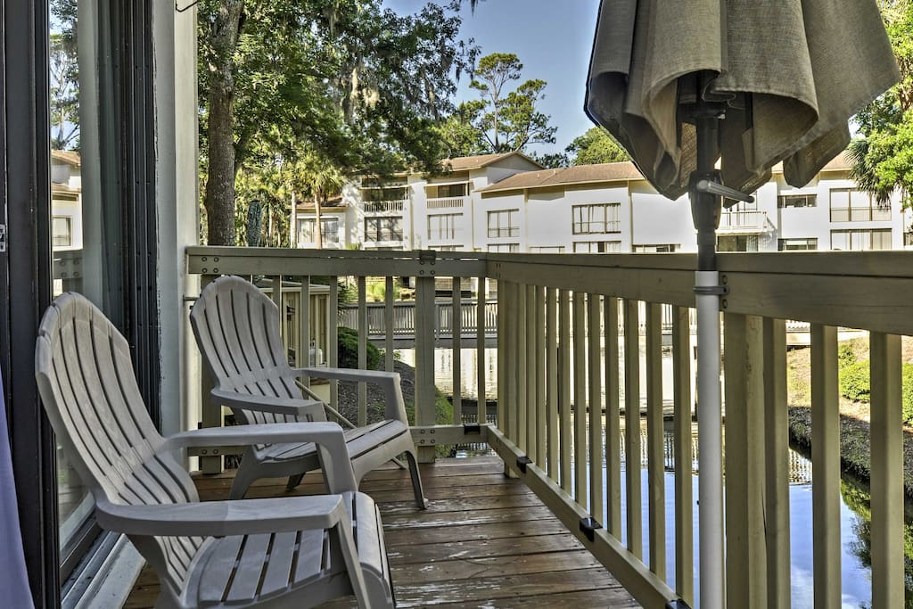 Take in the views of your surrounding wetlands from the private deck.