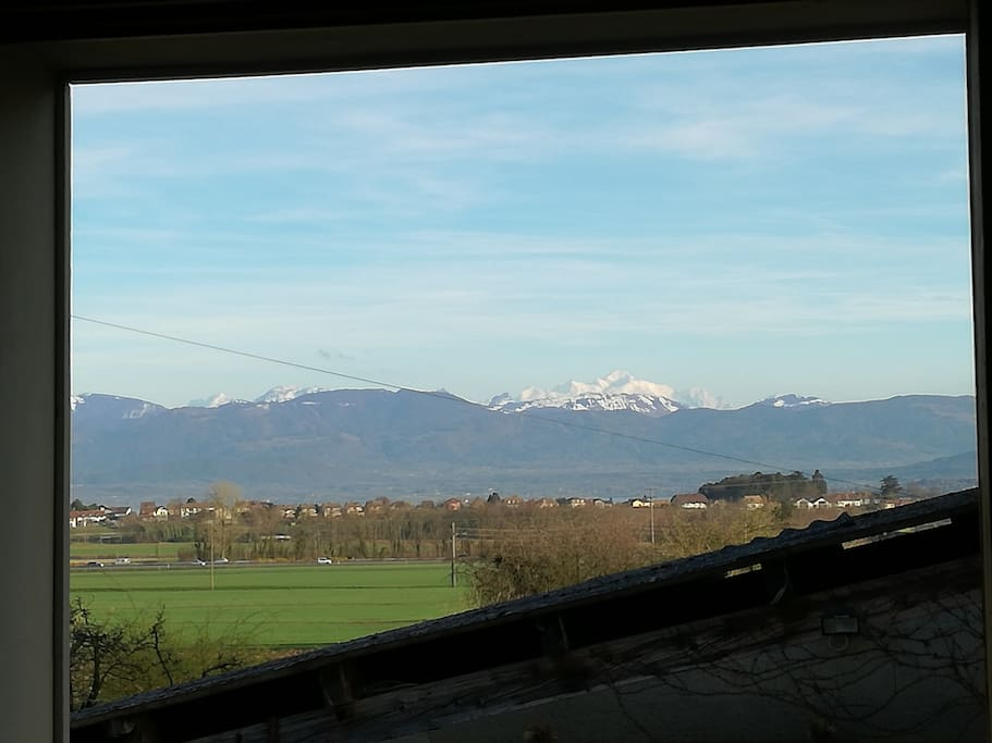 View of Mont Blanc, weather permitting