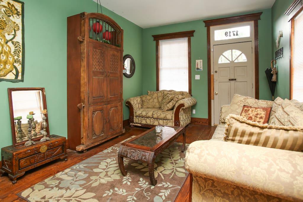 Living room - I like hand-carved wood!