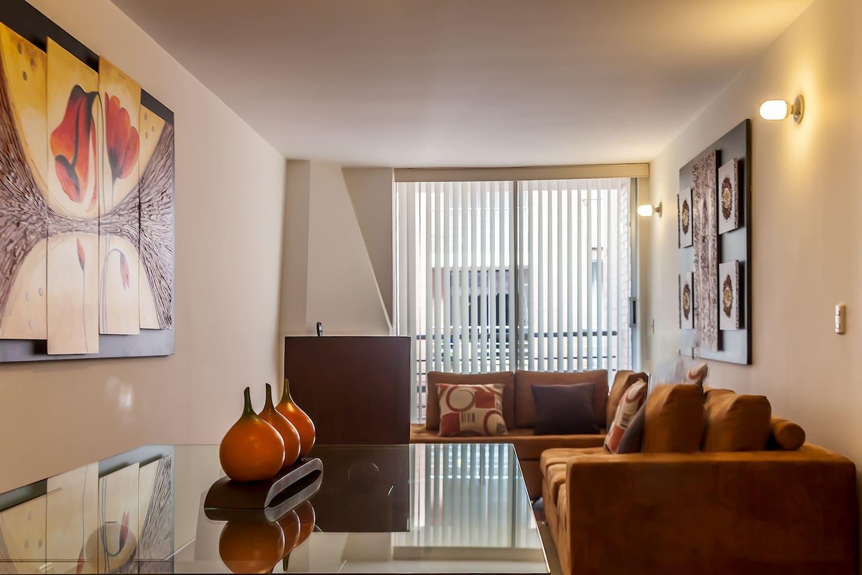 Living room as you enter apartment