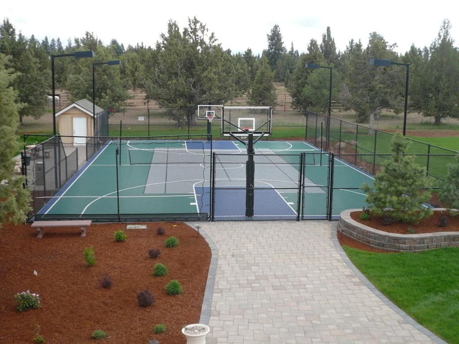 Lighted Outdoor Sportcourt... Basketball, Tennis, Badminton, Pickle Ball, Shuffleboard and more!