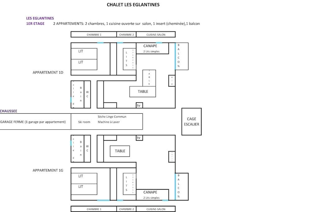 Appartement 2 chambres Chalet Les Eglantines / sur photo 2 appartement (8 à 12 pers)
