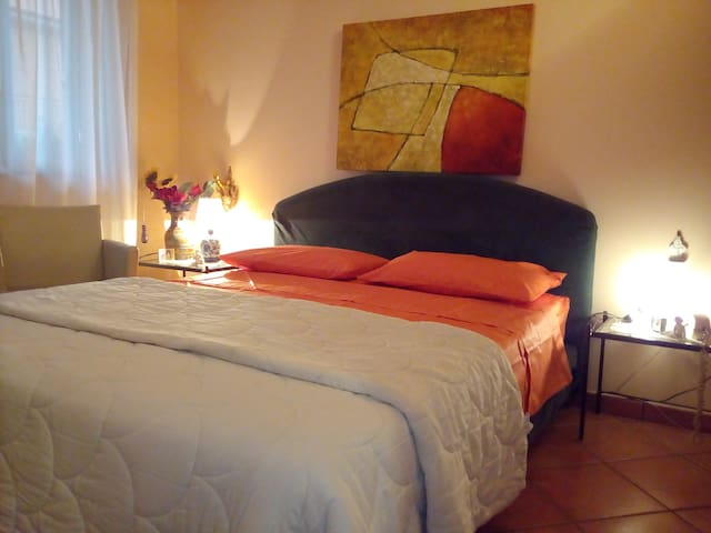 Double bed in private room and bathroom at Catania - Catania - Vila