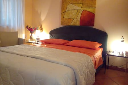 Double bed in private room and bathroom at Catania - Catania