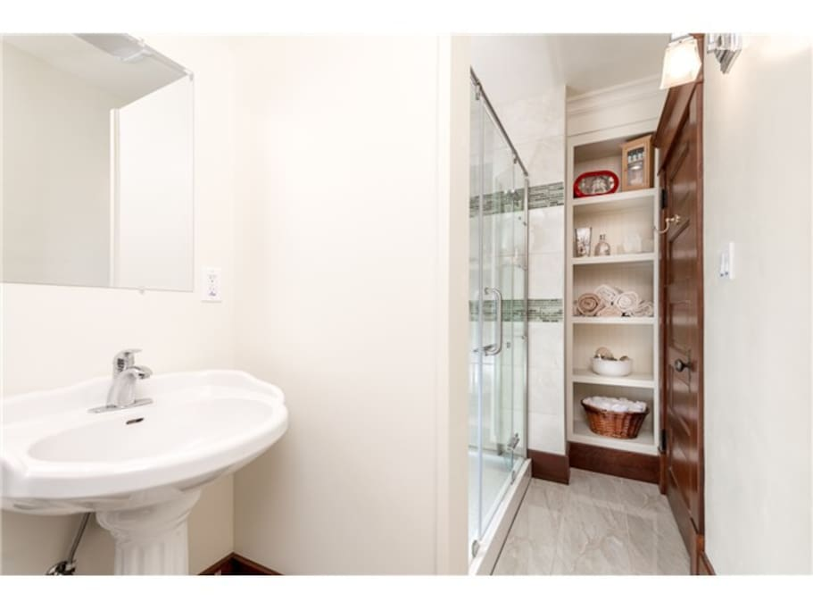 Large walk in shower.  Room enough to dance to your shower songs!