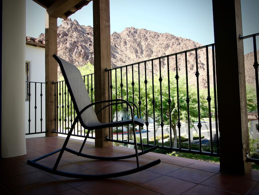 Outdoor Rocking Chair on main balcony to enjoy the beautiful mountain view.
