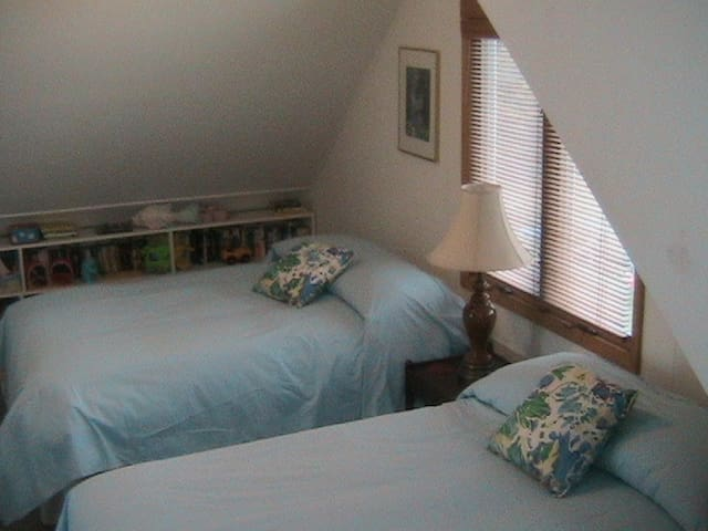 The upstairs guest room is spacious with 2 double beds, and bookshelves filled with kids books & toys. 2 sets of windows provide lovely cross breeze. One window has a lake view. Great for kids or for a couple with small children. Pack n play onsite.