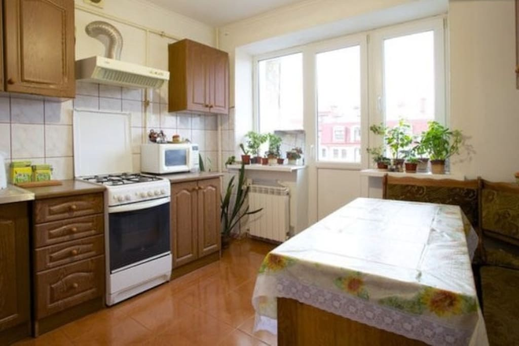 Kitchen with all necessary things for cooking. Кухня со всеми необходимыми вещами для готовки.