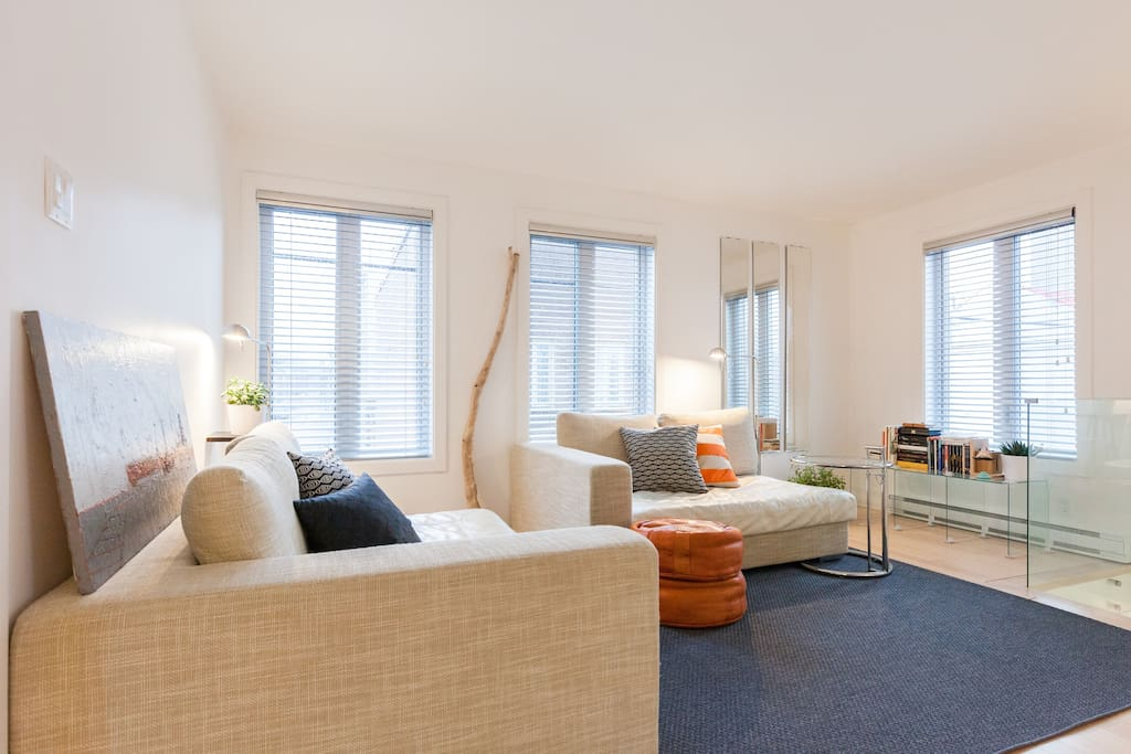 Living Room / Salon  Sectional couch converts into a Queen bed / Divan sectionnel se transforme en lit Queen