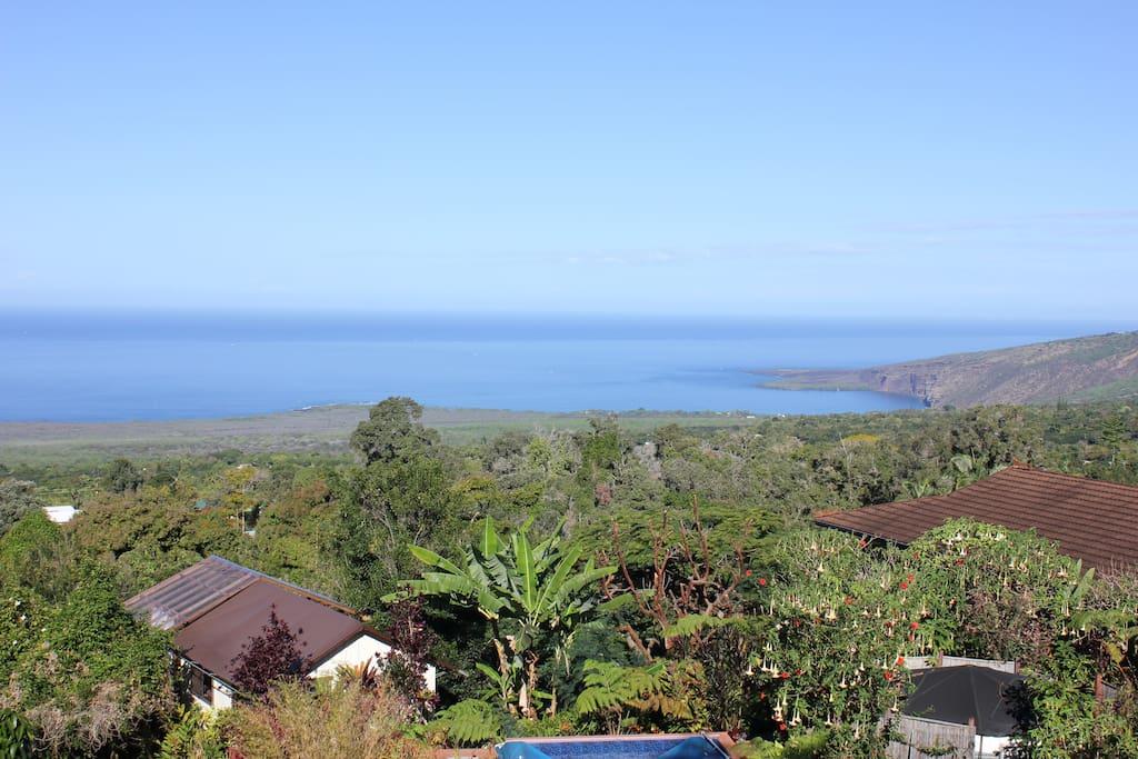 Stunning panoramic view from Honaunau Farm & Eco-Stay.
