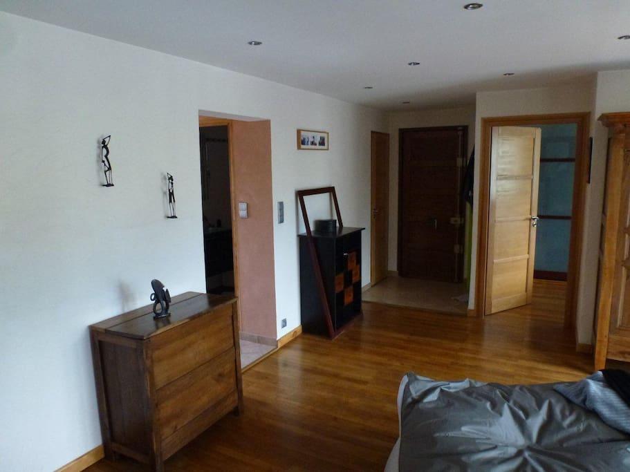Hall d'entrée avec cuisine à gauche,  chambre 1 à droite, WC au fond à gauche et porte d'entée au fond.