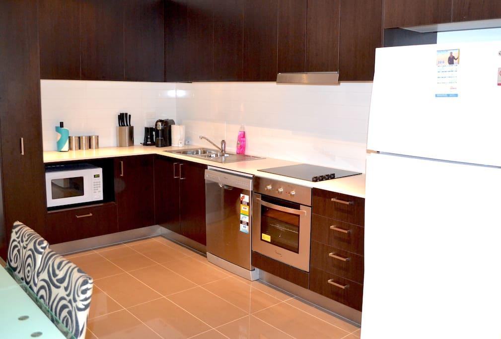 Open plan kitchen area.