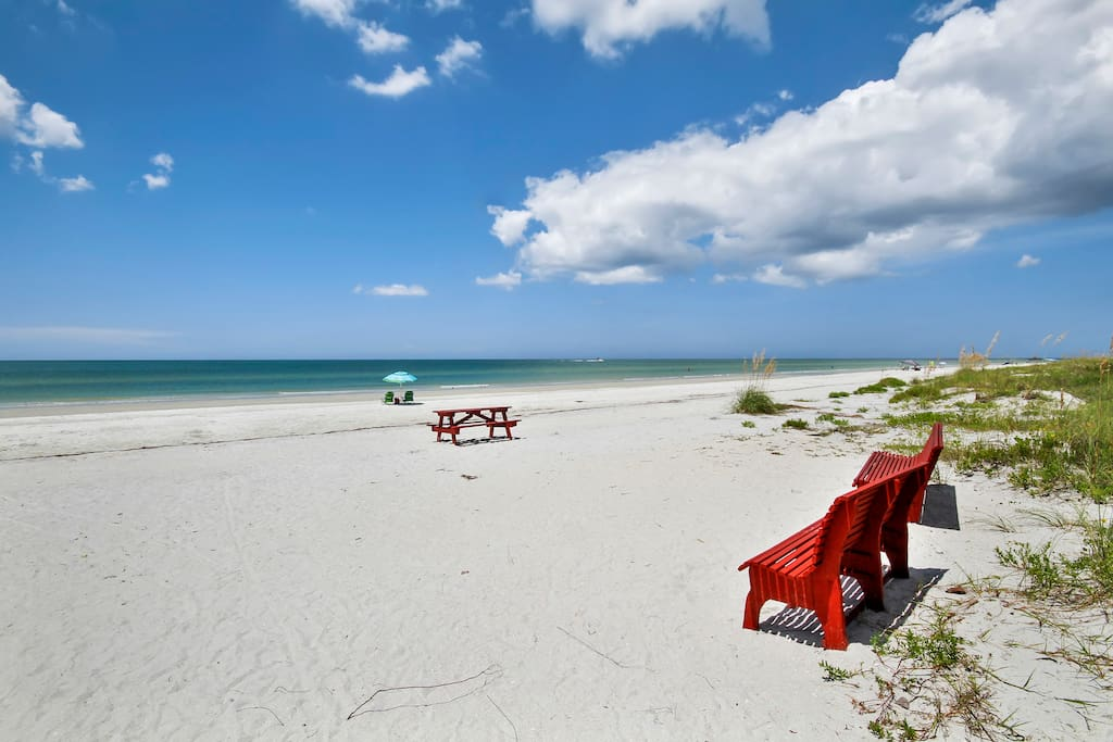 Indian Shores Beach is just steps away from your condo!