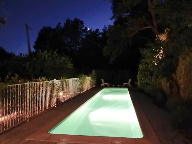 Magical pool under starry skies