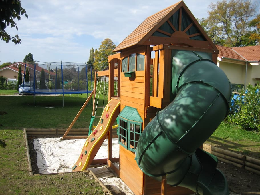 Play Structure and Trampoline in part of the gardens