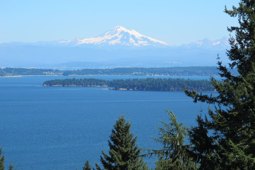 Enjoy the view from your porch of the Salish Sea, Mt. Baker and the Cascades below.