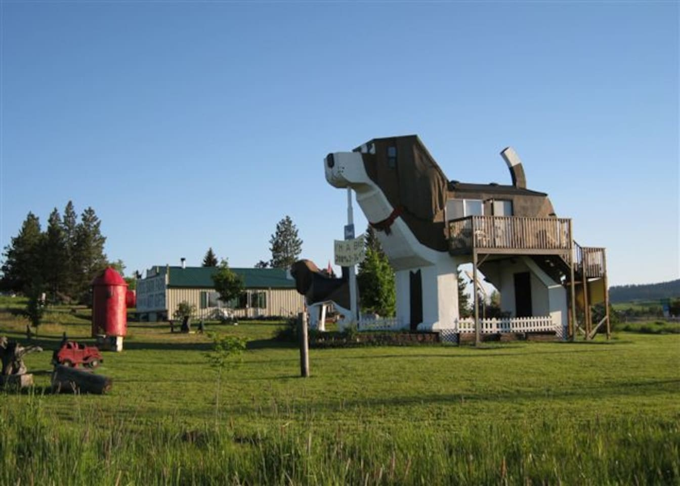 Expanded view of Dog Bark Park, including a giant red fire hydrant