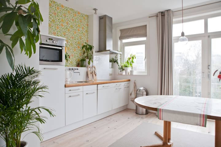 Sunny, light and bright kitchen with all necessary equipment