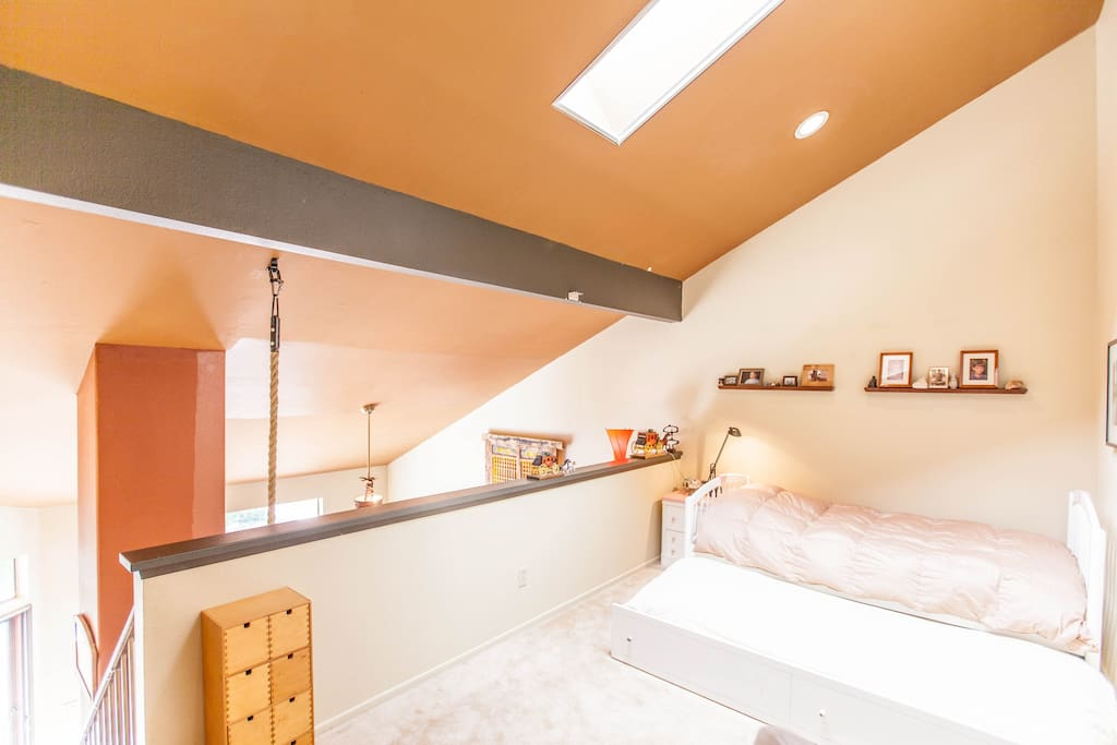 Upstairs loft, two twin-size beds.
