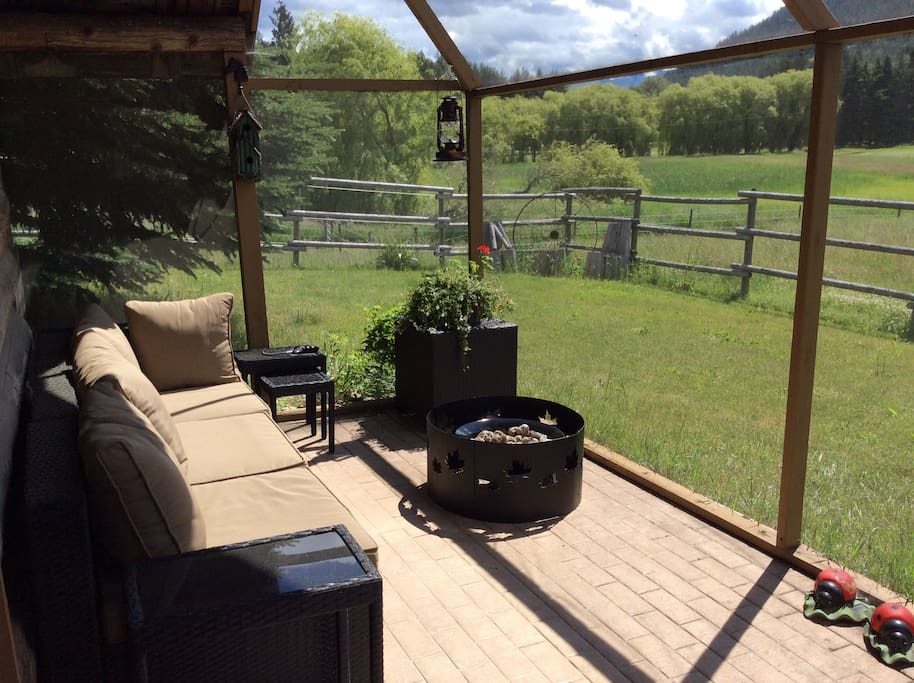 Heritage Cabin front patio with stunning views of the country side.  This is a great place to sit and relax.